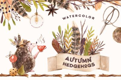 Watercolor Autumn Hedgehogs
