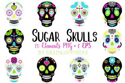 Sugar Skulls Clipart, Day Of The Dead Clipart, Sugar Skulls Vector