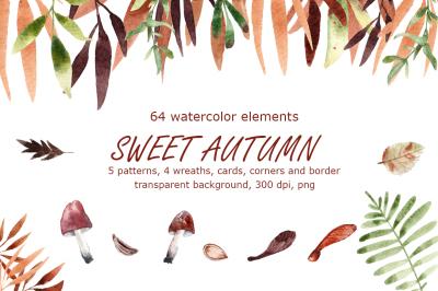 Sweet Autumn - Watercolor Clip Art Set