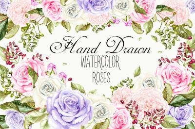 Hand drawn watercolor ROSES  3
