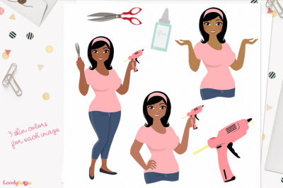 Crafter girl character clipart (Wendy L158)