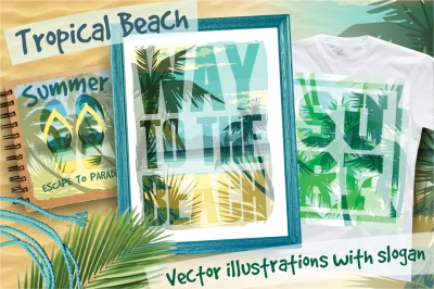 Tropical beach.Vector illustrations.