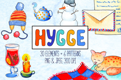 Cozy Winter Hygge Watercolor Clipart And Patterns