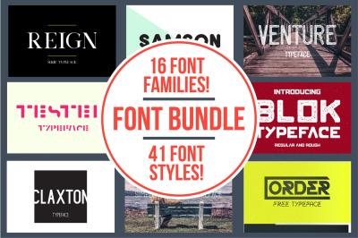 Font Bundle | 16 Fonts | 90% Off!