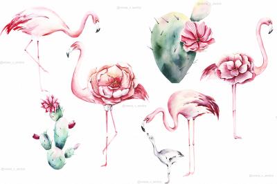 Pink flamingo & Cactus Clipart