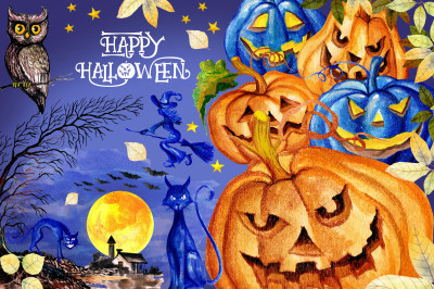 Watercolor Happy Halloween