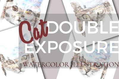 Cat double exposure illustration