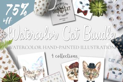 Watercolor Cat Bundle 80%OFF SALE