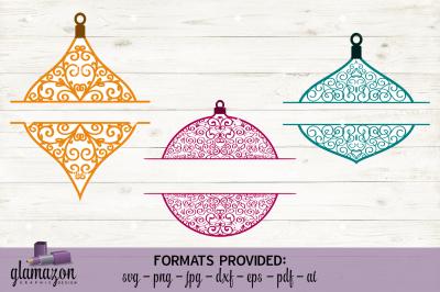 Monogram Christmas Ornaments - SVG DXF EPS PNG PDF JPG AI - cutting file