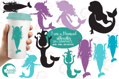 Mermaid silhouettes clipart, graphics, illustrations AMB-2227