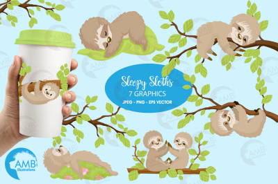 Sleepy sloth clipart, graphics, illustration AMB-2200