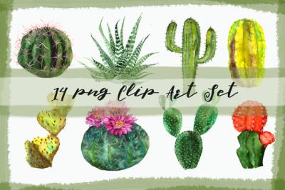 Watercolor Cactuses Clip Art Set
