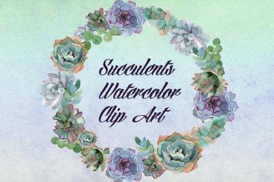 Watercolor Succulents Clip Art