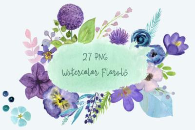 27 PNG Watercolor Floral Clip Art