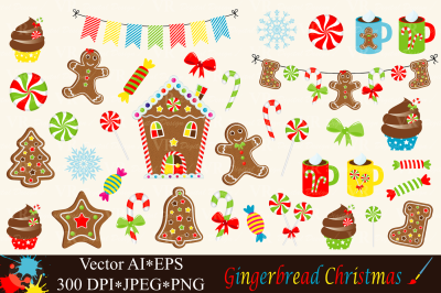 Christmas Gingerbread Clipart - Vector