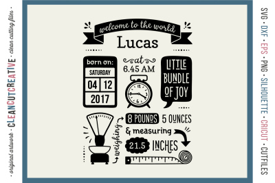 BIRTH STATS TEMPLATE - Baby Birth Announcement - SVG DXF EPS PNG - Cricut & Silhouette - clean cutting files