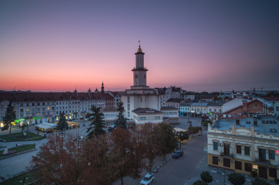 Old city in Ukraine during sunset