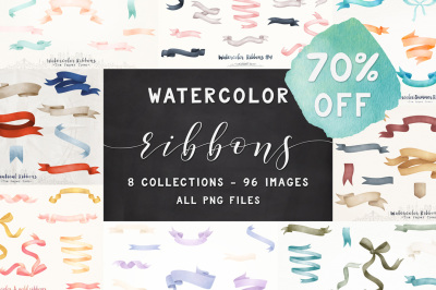 70% OFF - The Watercolor Ribbons Bundle