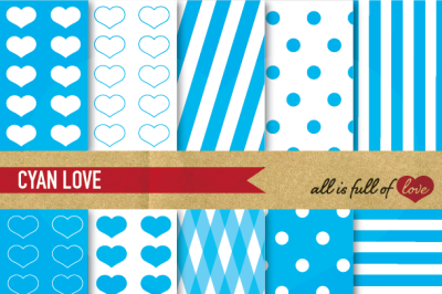 Love Backgrounds in Sky Blue Cyan Digital Paper Set