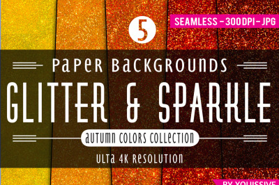 Glitter & Sparkle Paper Backgrounds - The Autumn Bundle