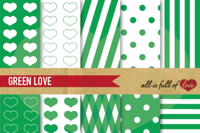 Love Backgrounds in Grass Green Digital Paper Pack