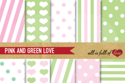 Love Backgrounds in Pale Pink and Green