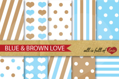 Love Backgrounds in Light Blue and Brown Digital Paper Pack