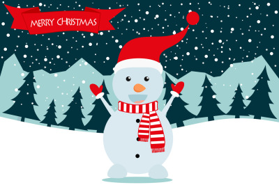 Merry Christmas snowman decoration card design