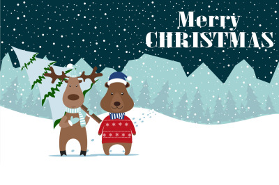 Deer and Bear Merry Christmas and Happy New Year! Happy new year card, new years eve,new year greetings,new year messages,new year greeting,new year day