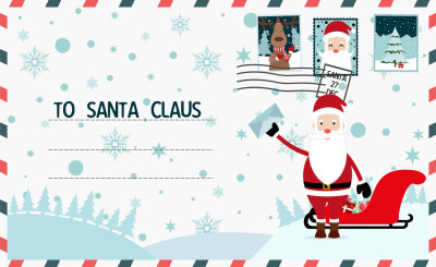 Christmas letter to Santa Claus. Merry Christmas and Happy New Year postcard.