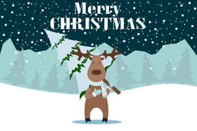 Happy new year card with deer and tree, new years eve,new year greetings,new year messages,new year greeting,new year day