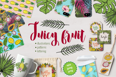 Vector set ot fruits and tropical leaves