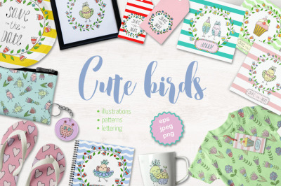Cute birds, flowers, frames and lettering