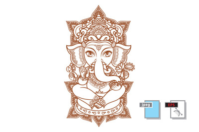 Hindu elephant God Lord Ganesh. Hinduism. Paisley background. Indian, Hindu motifs. Henna tattoo, textiles, sticker. Cheerful colorful style. Vector elements isolated. Monochrome linear figure