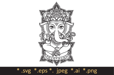 Hindu elephant head God Lord Ganesh. Template for  coloring book. Cutting file svg. Hinduism. Paisley background. Indian, Hindu motifs. Henna tattoo, textiles, sticker. Cheerful colorful style. Vector elements isolated. Monochrome linear figure