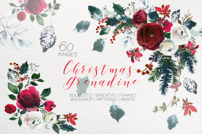 Christmas Grenadine Bordo Watercolor Flowers Clipart