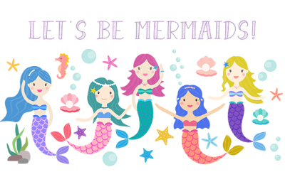 Mermaid clipart, sea clip art
