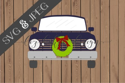 Vintage Truck With Wreath SVG JPEG