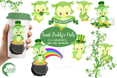 Saint-Paddy's Owls clipart, graphics, illustrations AMB-1185