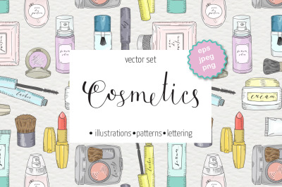 Cosmetics and skin care set