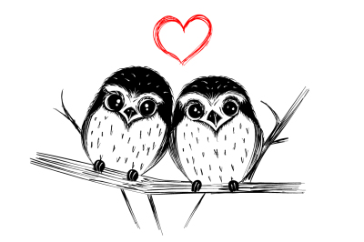 Cute owls - hand drawn illustration