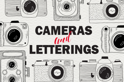 Set of cameras with letterings.