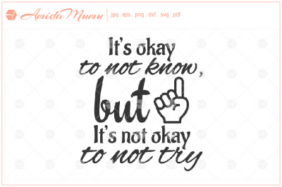 'It's Okay To Not Know, But It's Not Okay To Not Try' beautifully crafted cut file.