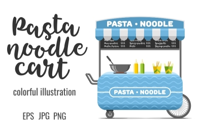 Pasta and noodle street food cart