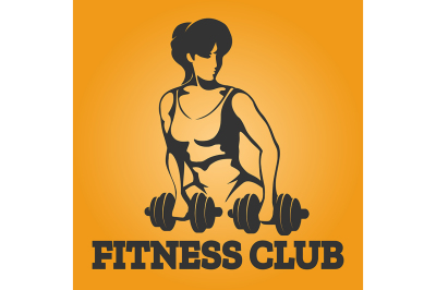 Athletic woman with dumbbell