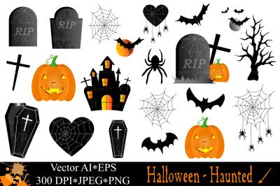 Halloween Haunted Clipart - Vector