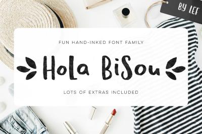 Hola Bisou - hand painted feminine ink font