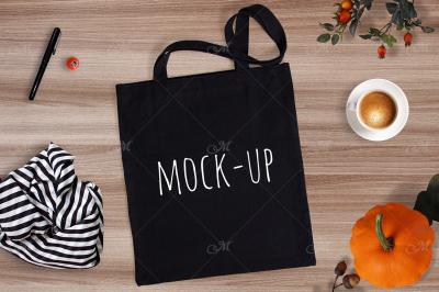Black Tote Bag Mockup. PSD+JPEG