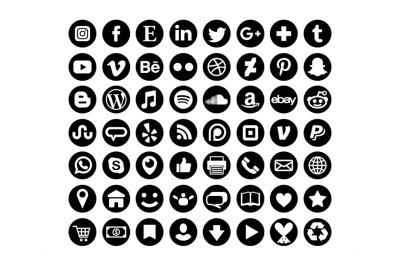 Black Round Social Media Icons