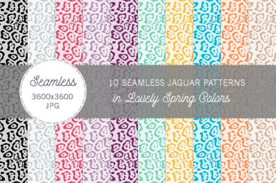 Seamless Jaguar Patterns Spring Colors